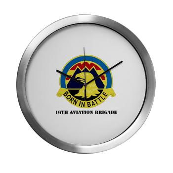 16AB - M01 - 03 - DUI - 16th Aviation Brigade with Text - Modern Wall Clock