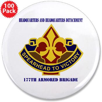 "177ABHHD - M01 - 01 - HHD - 177th Armored Bde with Text 3.5"" Button (100 pack)"
