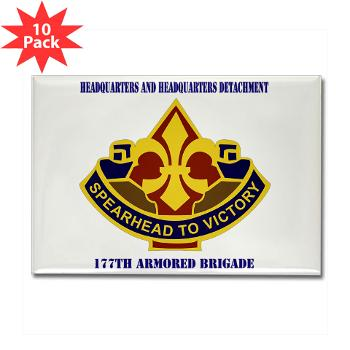 177ABHHD - M01 - 01 - HHD - 177th Armored Bde with Text Rectangle Magnet (10 pack)