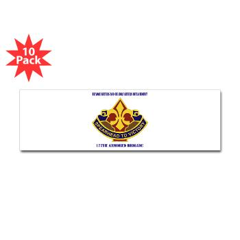 177ABHHD - M01 - 01 - HHD - 177th Armored Bde with Text Sticker (Bumper 10 pk)
