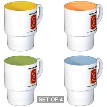 17BHHB - A01 - 03 - DUI - Headquarters and Headquarters Battery With Text - Stackable Mug Set (4 mugs)