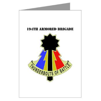 194AB - M01 - 02 - DUI - 194th Armored Brigade with text - Greeting Cards (Pk of 10)