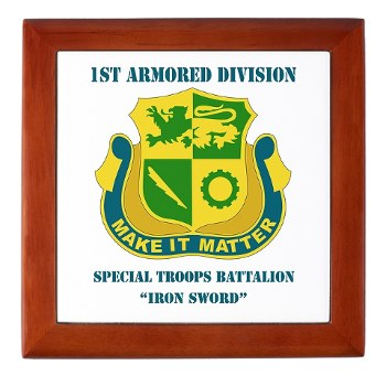 1ADSTBI - M01 - 02 - DUI - Div - Special Troops Bn with Text Keepsake Box