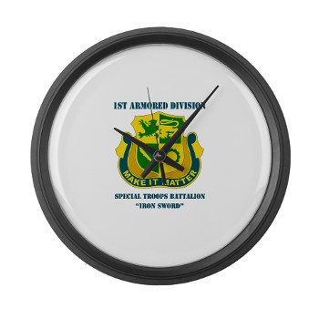 1ADSTBI - M01 - 02 - DUI - Div - Special Troops Bn with Text Large Wall Clock