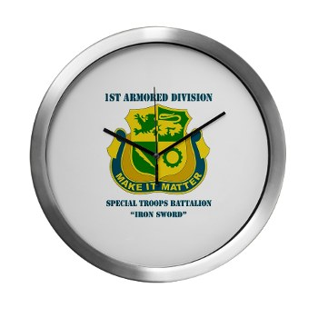 1ADSTBI - M01 - 02 - DUI - Div - Special Troops Bn with Text Modern Wall Clock