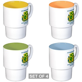 1ADSTBI - M01 - 02 - DUI - Div - Special Troops Bn with Text Stackable Mug Set (4 mugs)