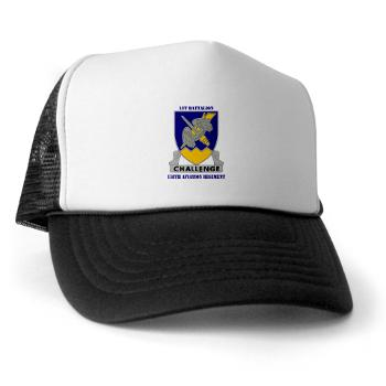 1B158AR - A01 - 02 - DUI - 1st Battalion,158th Aviation Regiment with Text - Trucker Hat