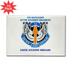 1B337AR - M01 - 01 - DUI - 1st Bn - 337th Aviation Regiment with Text Rectangle Magnet (10 pack)