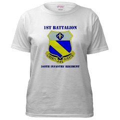 1B349R - A01 - 04 - DUI - 1st Battalion - 349th Regiment with Text Women's T-Shirt