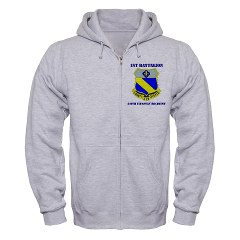 1B349R - A01 - 03 - DUI - 1st Battalion - 349th Regiment with Text Zip Hoodie