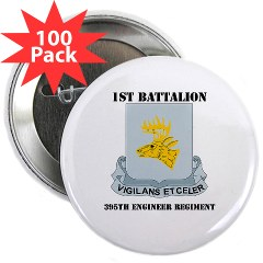 "1B395RLS - M01 - 01 - DUI - 1st Bn - 395th Engineer Regt with Text - 2.25"" Button (100 pack)"