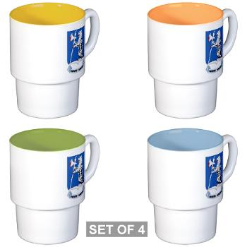 1B77AR - M01 - 03 - DUI - 1st Bn - 77th Armor Regt - Stackable Mug Set (4 mugs)