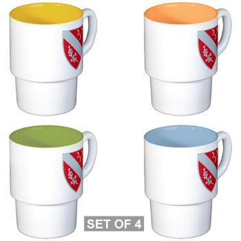 1B7FAR - M01 - 03 - DUI - 1st Bn - 7th FA Regt Stackable Mug Set (4 mugs)