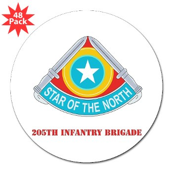 "205IB - M01 - 01 - DUI - 205th Infantry Brigade with Text 3"" Lapel Sticker (48 pk)"