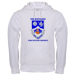 2B23IR - A01 - 03 - DUI - 2nd Battalion - 23rd Infantry Regiment with text Hooded Sweatshirt