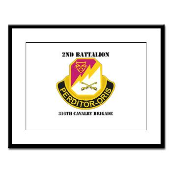 2B316CB - M01 - 02 - DUI - 2Bn - 316th Cavalry Bde with text Large Framed Print