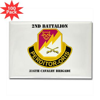 2B316CB - M01 - 01 - DUI - 2Bn - 316th Cavalry Bde with text Rectangle Magnet (100 pack)