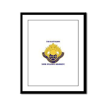 2B58AR - M01 - 02 - DUI - 2nd Battalion,58th Aviation Regiment with Text - Framed Panel Print