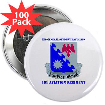 "2BGS1AR - M01 - 01 - DUI - 2nd GS Bn - 1st Aviation Regiment with Text 2.25"" Button (100 pack)"