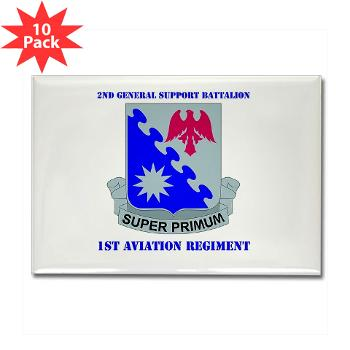 2BGS1AR - M01 - 01 - DUI - 2nd GS Bn - 1st Aviation Regiment with Text Rectangle Magnet (10 pack)