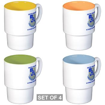 308BSB- M01 - 03 - DUI - 308th Bde - Support Bn - with Text - Stackable Mug Set (4 mugs)