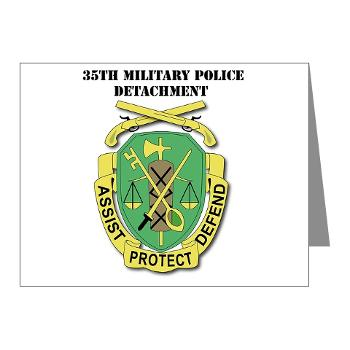 35MPD - M01 - 02 - DUI - 35th Military Police Detachment with text - Note Cards (Pk of 20)