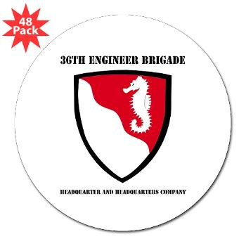 "36EBHHC - M01 - 01 - DUI - Headquarter and Headquarters Company with Text 3"" Lapel Sticker (48 pk)"