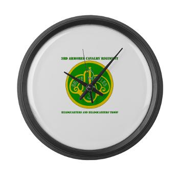 3ACRHHT - M01 - 03 - DUI - Headquarters and Headquarters Troop with text - Large Wall Clock
