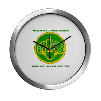 3ACRHHT - M01 - 03 - DUI - Headquarters and Headquarters Troop with text - Modern Wall Clock