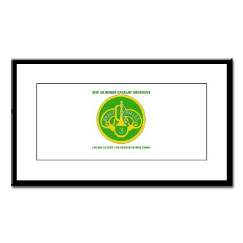 3ACRHHT - M01 - 02 - DUI - Headquarters and Headquarters Troop with text - Small Framed Print