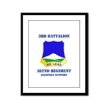 3B382RLS - M01 - 02 - DUI - 3rd Battalion, 382nd Regiment (Logistics Support) with Text - Framed Panel Print