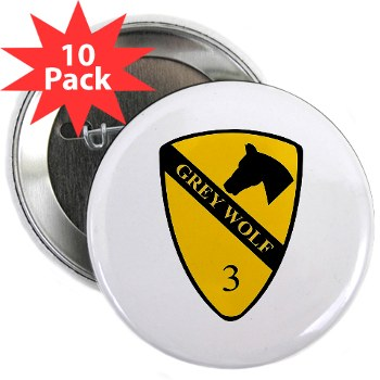 "3BCT - M01 - 01 - DUI - 3rd Infantry BCT - Grey Wolf - 2.25"" Button (10 pack)"