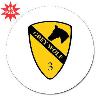 "3BCT - M01 - 01 - DUI - 3rd Infantry BCT - Grey Wolf - 3"" Lapel Sticker (48 pk)"
