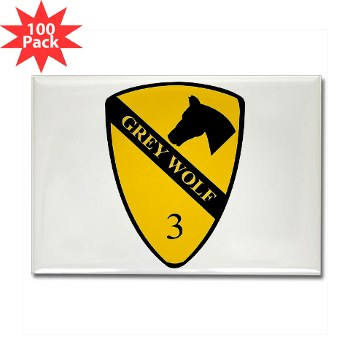 3BCT - M01 - 01 - DUI - 3rd Infantry BCT - Grey Wolf - Rectangle Magnet (100 pack)