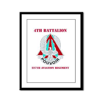 4B227AR - M01 - 02 - DUI - 4th Battalion - 227th Aviation Regt with Text - Framed Panel Print