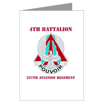 4B227AR - M01 - 02 - DUI - 4th Battalion - 227th Aviation Regt with Text - Greeting Cards (Pk of 20)
