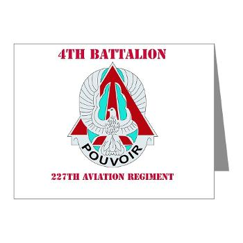 4B227AR - M01 - 02 - DUI - 4th Battalion - 227th Aviation Regt with Text - Note Cards (Pk of 20)