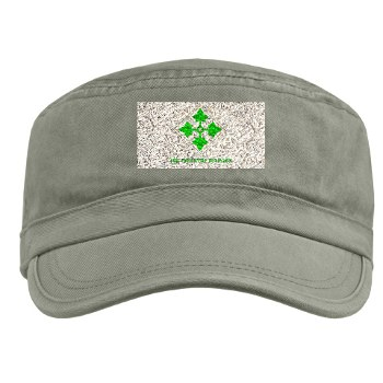 4ID - A01 - 01 - SSI - 4th Infantry Division with text Military Cap