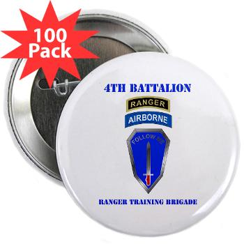 "4RTB - M01 - 01 - DUI - 4th Ranger Training Brigade with Text - 2.25"" Button (100 pack)"
