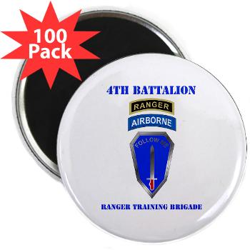 "4RTB - M01 - 01 - DUI - 4th Ranger Training Brigade with Text - 2.25"" Magnet (100 pack)"