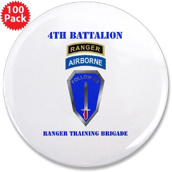 "4RTB - M01 - 01 - DUI - 4th Ranger Training Brigade with Text - 3.5"" Button (100 pack)"