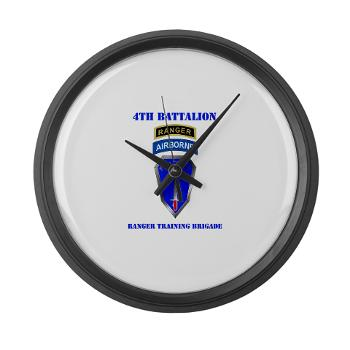 4RTB - M01 - 03 - DUI - 4th Ranger Training Brigade with Text - Large Wall Clock