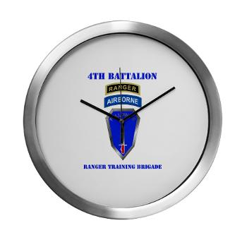 4RTB - M01 - 03 - DUI - 4th Ranger Training Brigade with Text - Modern Wall Clock