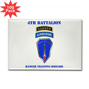 4RTB - M01 - 01 - DUI - 4th Ranger Training Brigade with Text - Rectangle Magnet (100 pack)