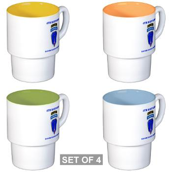 4RTB - M01 - 03 - DUI - 4th Ranger Training Brigade with Text - Stackable Mug Set (4 mugs)
