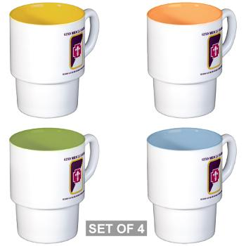62MBHHC - M01 - 03 - DUI - Headquarter and Headquarters Company with Text Stackable Mug Set (4 mugs)