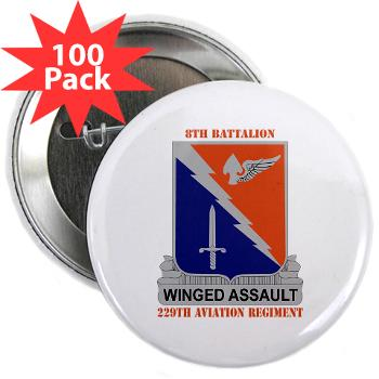 "8B229AR - M01 - 01 - DUI - 8th Battalion, 229th Aviation Regiment with text - 2.25"" Button (100 pack)"