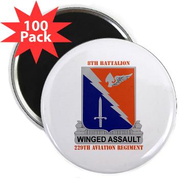 "8B229AR - M01 - 01 - DUI - 8th Battalion, 229th Aviation Regiment with text - 2.25"" Magnet (100 pack)"