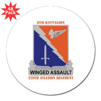 "8B229AR - M01 - 01 - DUI - 8th Battalion, 229th Aviation Regiment with text - 3"" Lapel Sticker (48 pk)"