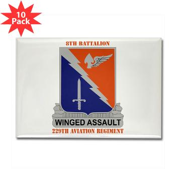 8B229AR - M01 - 01 - DUI - 8th Battalion, 229th Aviation Regiment with text - Rectangle Magnet (10 pack)